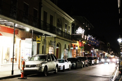 Typical French Quarter block at night.