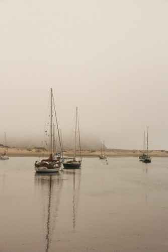 Morro Rock shrouded in fog.