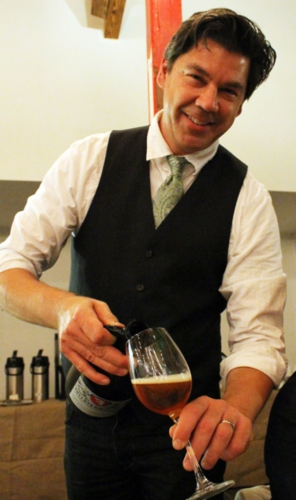 Sean Lilly Wilsom pouring out some brew from Fullsteam at the 2012 East Meets West dinner.