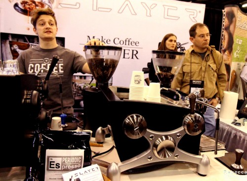Periodic Espresso being served up at the Slayer espresso machine booth.