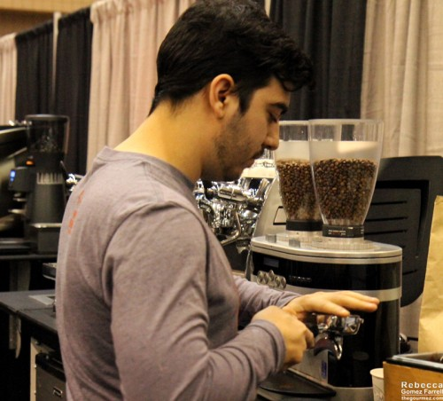 Buddy Brew going for the hand-tamping approach in Bout #4.