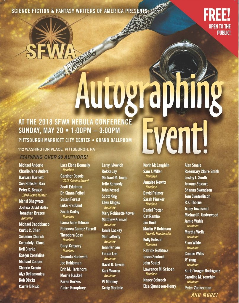 sfwa, mass autographing, pittsburgh, nebulas, nebula weekend, author signing